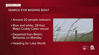 Boat headed to Lake Worth Beach missing with around 20 people aboard