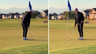 First ever eagle putt doesn't go according to plan