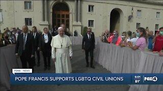 Pope Francis supports LGBTQ civil unions