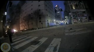 Police bodycam shows officer is not impressed by the massive blast in Nashville.