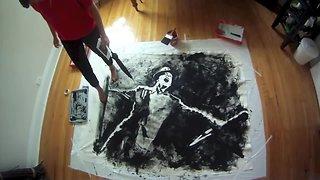Unique artist paints incredible portrait with her feet