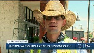 Singing cart wrangler brings customers joy
