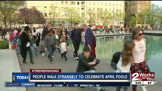 People walk strangely to celebrate April Fools Day