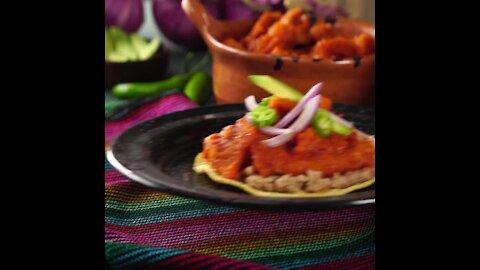 Chicharrón Tostadas in Red Sauce