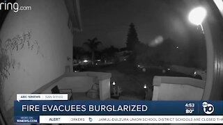 Fire evacuees burglarized