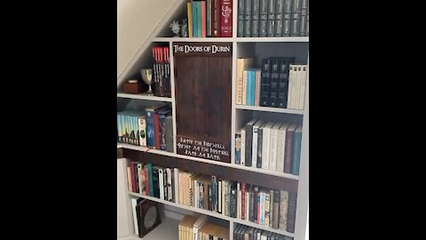 Woodworking Hobbyist Creates Incredible Lord Of The Rings Bookcase Piece!