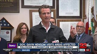 Governor Gavin Newsom tours earthquake damaged areas, warns residents to be prepared