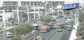 Fatal crash closes travel lanes on Sahara Avenue