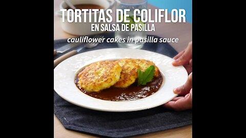 Cauliflower Pancakes in Pasilla Sauce