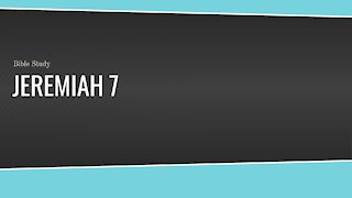 Jeremiah 7 Bible Study