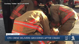 Firefighters rescue woman and deliver her groceries home