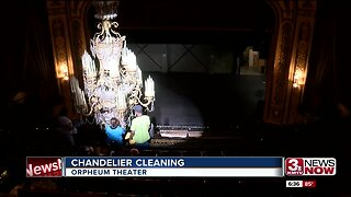 Orpheum chandelier cleaning