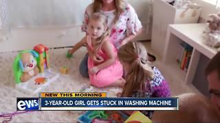 Child gets stuck in washing machine