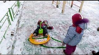 Funny children. Winter fun time.