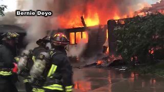 VIDEO: Firefighters battle Eagle house fire