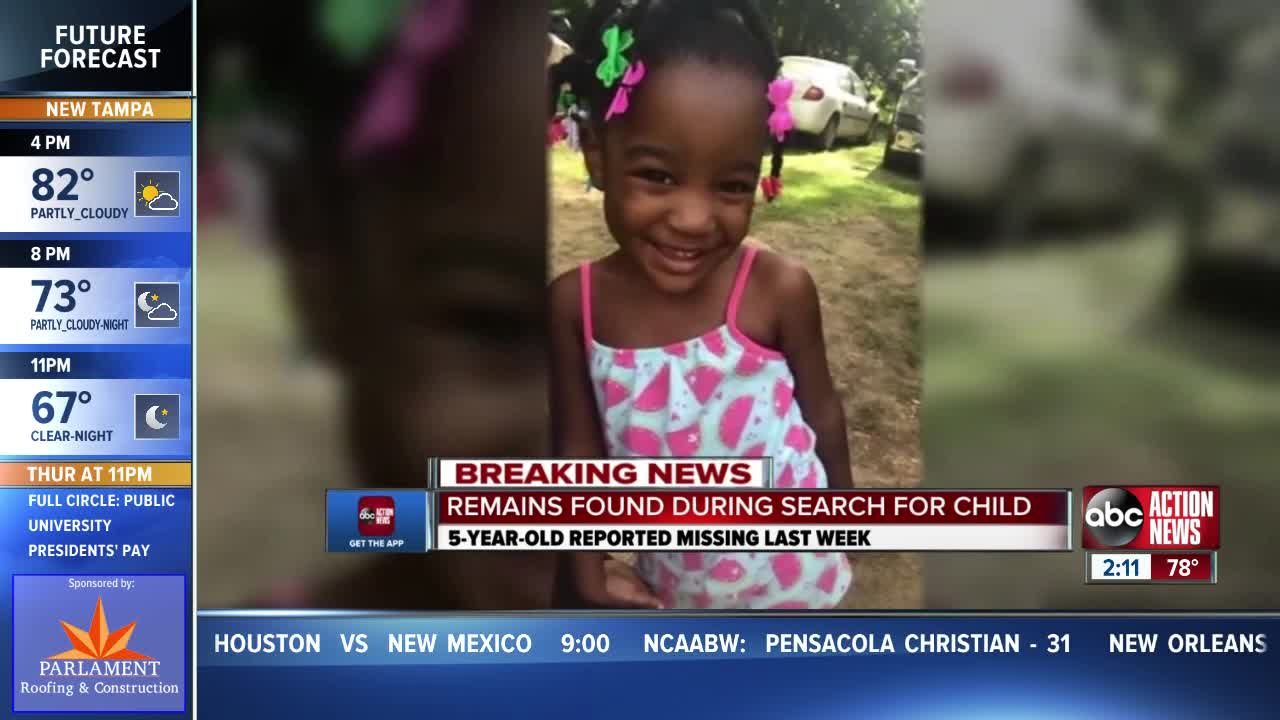 Human remains have been found in the search for a missing 5-year-old Florida girl, victim ID pending