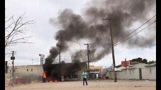 Outside trash fire behind Desert Star Motel in Las Vegas
