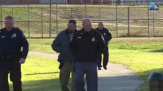 Baltimore County Police look for evidence outside Norwood Elementary School in Dundalk, where a student was sexually assaulted Monday