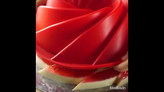Vanilla, strawberry and chocolate gelatin