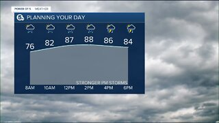 Power of 5 meteorologist Trent Magill gives an update on developing afternoon storms, bringing damaging winds.