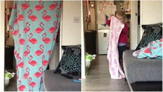 Little girl fails to replicate dad's magic trick