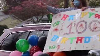 Parade led by fire & police department celebrates grandpa's 100th birthday