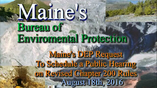 20160818 BEP - DEP Request For Public Hearing on Chapter 200 Mining Rules Part 1 of 2