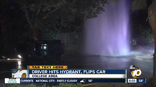 Driver knocks over hydrant, rolls over