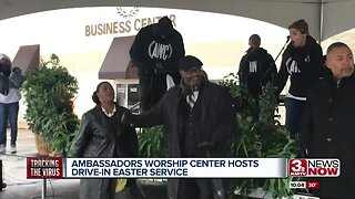 Omaha church hosts first drive-in service