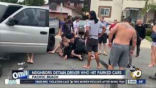 Pacific Beach neighbors detain driver who hit parked cars