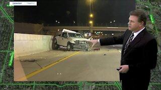 Three-vehicle crash closes northbound I-25 at Evans Avenue