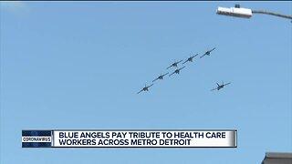 Blue Angels flying over metro Detroit