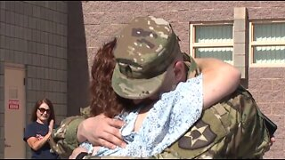 Local soldier surprises kids at Guy Elementary School