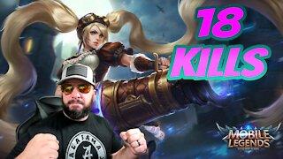 Layla 18 kills in Mobile Legends
