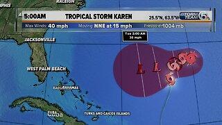 5 a.m. Thursday update on Tropical Storm Karen