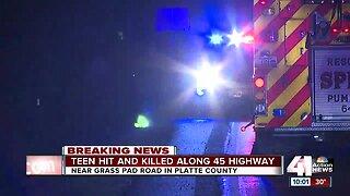 Teen pedestrian struck, killed by vehicle in Platte County