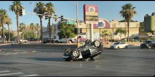 Vegas police arrest impaired driver after rollover crash
