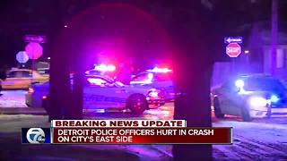 Detroit police officers hurt in crash on city's east side