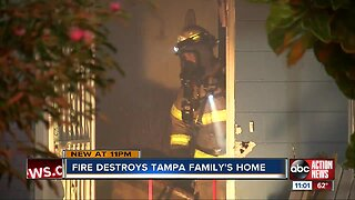 Fire destroys tampa family's home