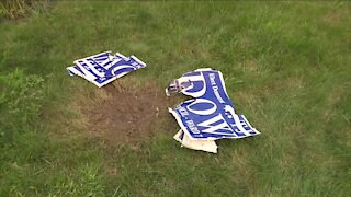 Cleveland couple's political yard sign, endorsing Ward 7 city council candidate, blown up with M-80