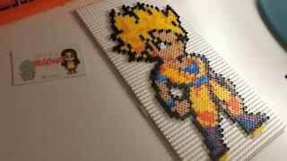 Artist creates Dragon Ball figure using hama beads