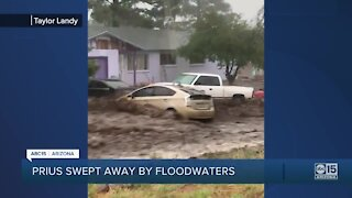Prius swept away by floodwaters in Flagstaff
