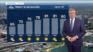 Friday is sunny with highs near 80