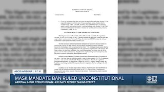 Judge rules state's ban on mask mandates in schools is unconstitutional