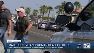 Male fugitive and woman dead at hotel