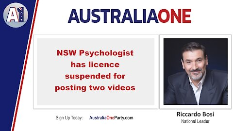 AustraliaOne Party - NSW Psychologist has licence suspended (We apologise for the poor quality)