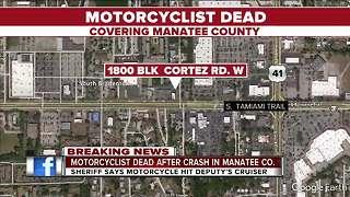 Motorcyclist killed, deputy injured in crash in Manatee County