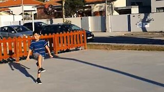7-year-old soccer player pulls amazing trick shot