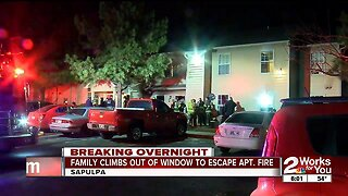 Family climbs out of windows to escape Christmas night apartment fire in Sapulpa