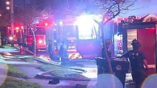 Firefighters battle house fire on Nelson Avenue
